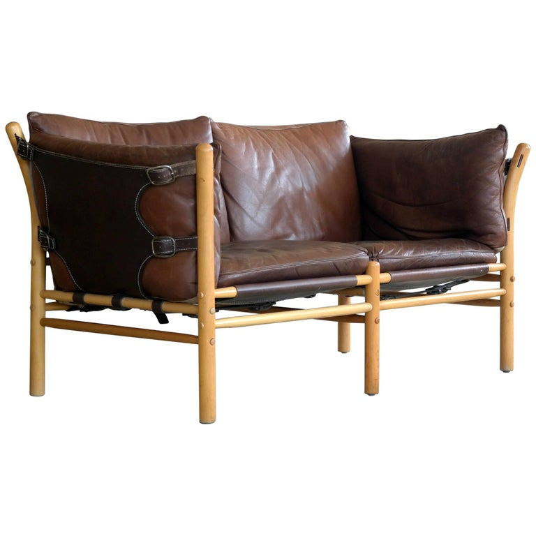 arne norell safari sofa model ilona in cognac leather for norell ab sweden for sale at 1stdibs. Black Bedroom Furniture Sets. Home Design Ideas