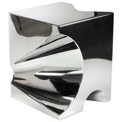 Contemporary Design Side Table or Stool in Polished Stainless Steel