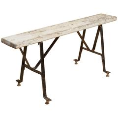 20th Century French Industrial Bench Made of Metal and Wood, 1940s
