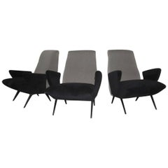 Nino Zoncada Armchair for Framar Made in Italy, 1950 Grey Black
