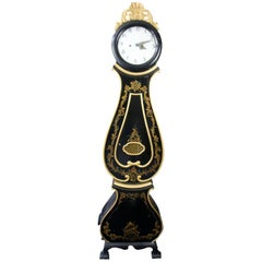 Antique Swedish Mora Clock Black 1800s Highly Decorative Handpainted Gilt