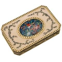20th Century Italian 18-Karat Solid Gold & Guilloche Enamel Snuff Box circa 1970