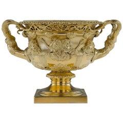 20. Jahrhundert, Edwardische Massive Silber Vergoldete Warwick Vase, London, circa 1908