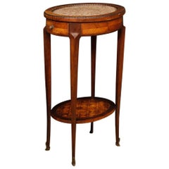 19th Century Inlaid Side Table with Marble Top