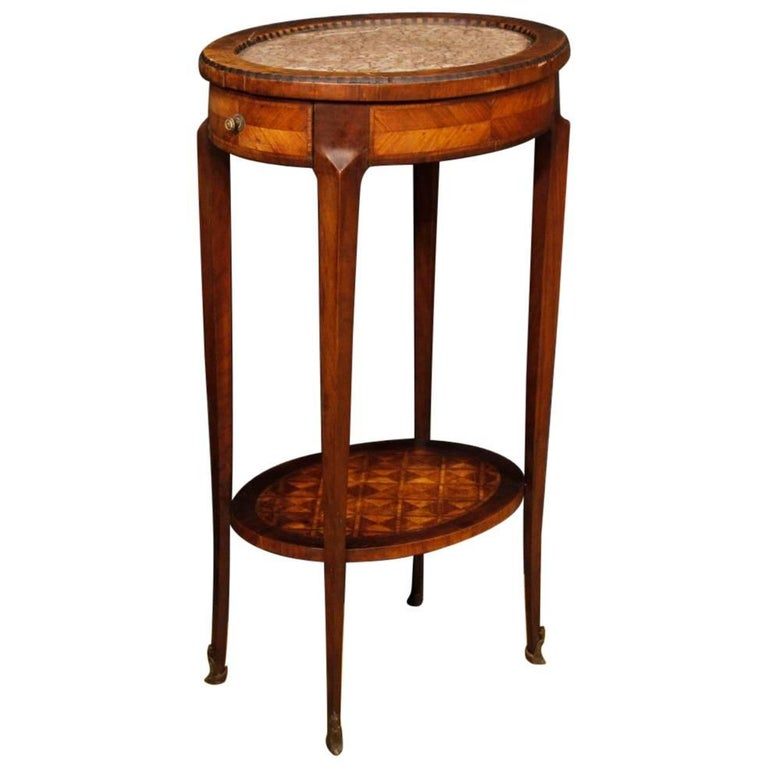 19th century inlaid side table with marble top for sale at for Marble table tops for sale