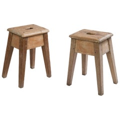20th Century Pair of French Stools Made of Wood, 1940s