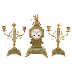 French Antique Gilt Bronze-Mounted Onyx Three-Piece Clock Set