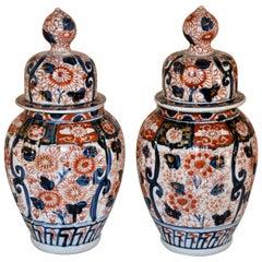 19th Century Pair of Small Imari Jars