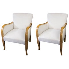 Art Deco Swedish Armchairs Early 20th Century Honey Golden Birch Bentwood Legs
