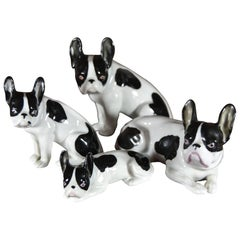 German Porcelain French Bulldog Family, Early 20th Century