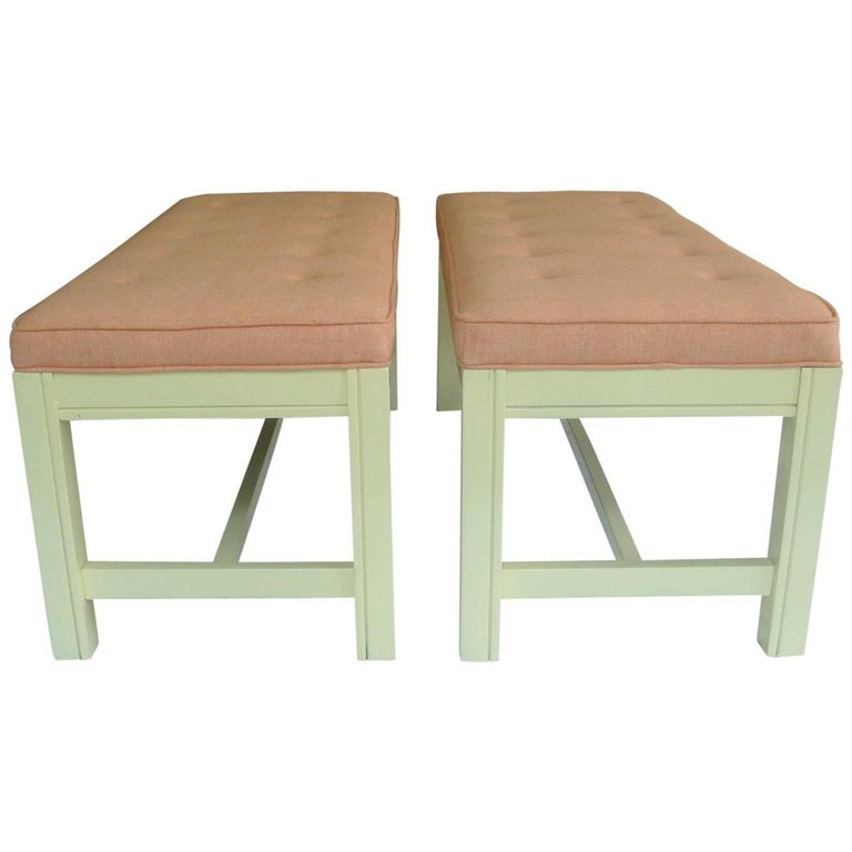 1960s Orange Parson Stool Benches with White Bases, Pair For Sale