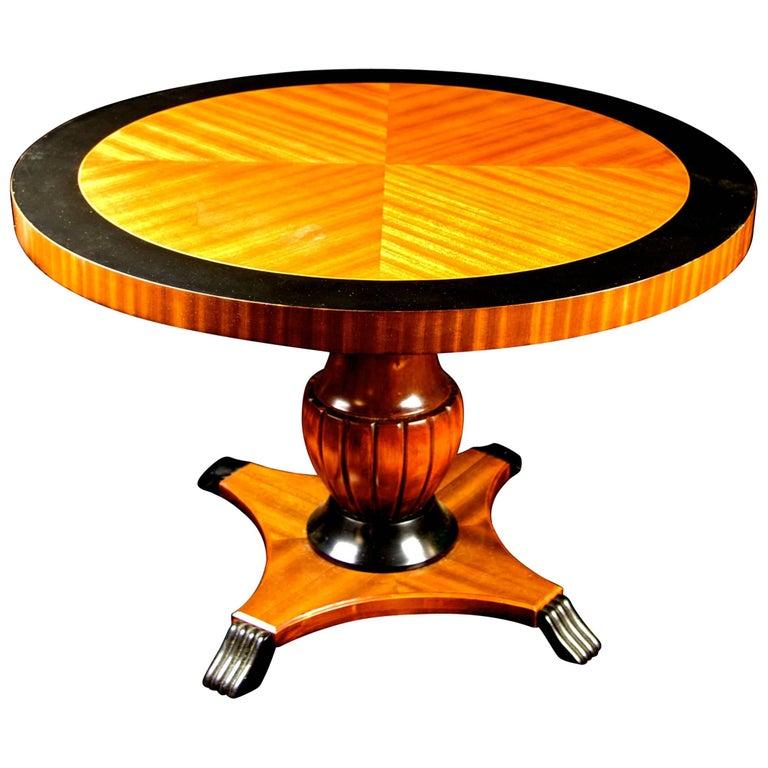 Biedermeier Swedish Antique  Round Table Honey Golden Birch Ormolu Urn Pedestal