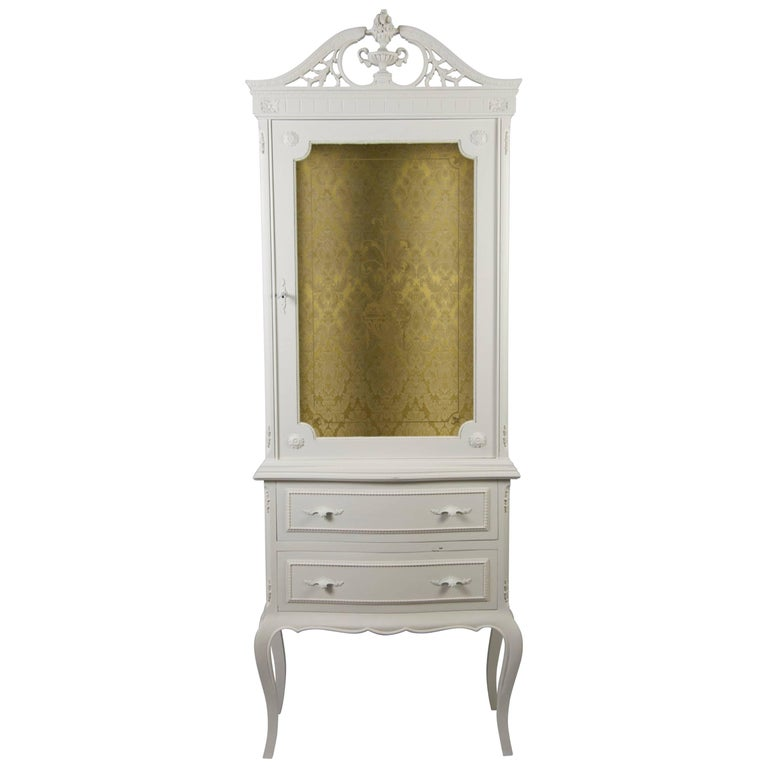 Gustavian Rococo Painted Display Cabinet Glass Vitrine Early 20th Century