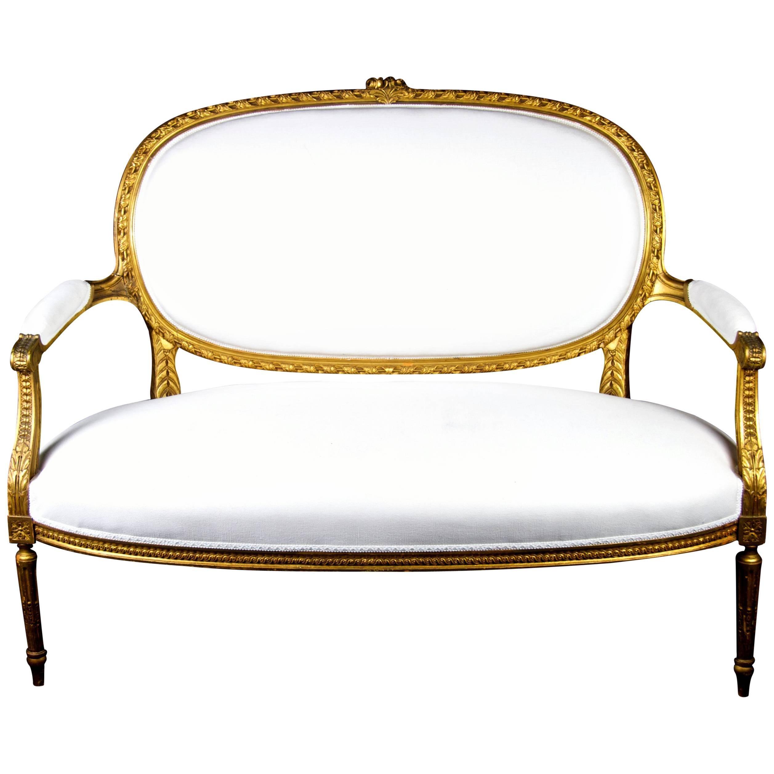 Mid 19th Century Antique Swedish Gustavian Gilt Carving Sprung Sofa Loveseat