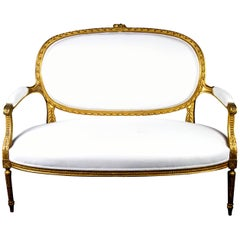 Mid 19th Century Antique Swedish Gustavian Gilt Carving Sprung Sofa Loveseat