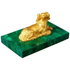 Early 19th Century Empire Russian Malachite and Ormolu Paperweight Spaniel Dog