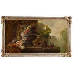 19th Century Painting Oil on Canvas Still Life with Parrot