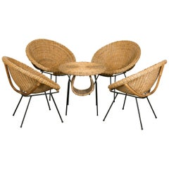 Rattan Set of Scoop Chairs and Table, Style of Janine Abraham, France