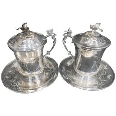 Pair of 20th Century Ottoman Empire Style Engraved Silver Sahlep Cups