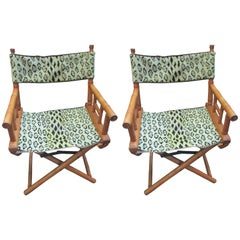 Leopard Needlepoint Mid-Century Pair of Faux Bamboo Folding Chairs