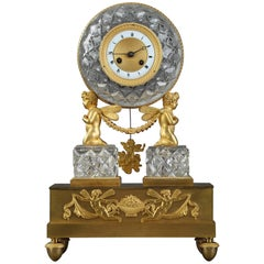 19th Century Restauration Crystal and Gilt Bronze Clock with Cupids