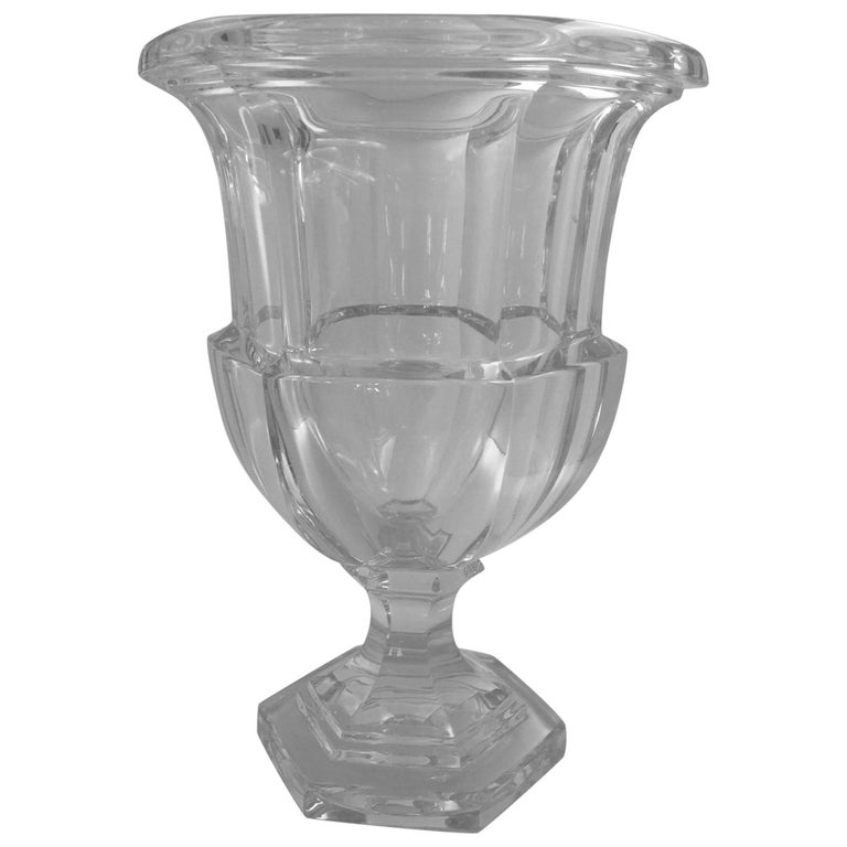 Vintage Tiffany And Co Crystal Vase Of Campana Form 20th Century