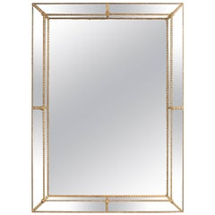Mid-Century Georgian Revival Wall Mirror, Cushioned with Recessed Plate