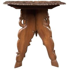 Carved Teak Campaign Side Table, Mid-Century