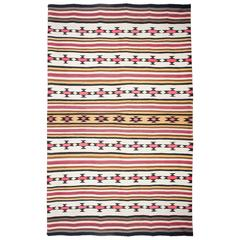 Impressive Navajo Chief's Native American Indian Wool Banded Blanket
