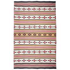 Impressive Navajo Chief's Native American Indian Wool Banded Blanket