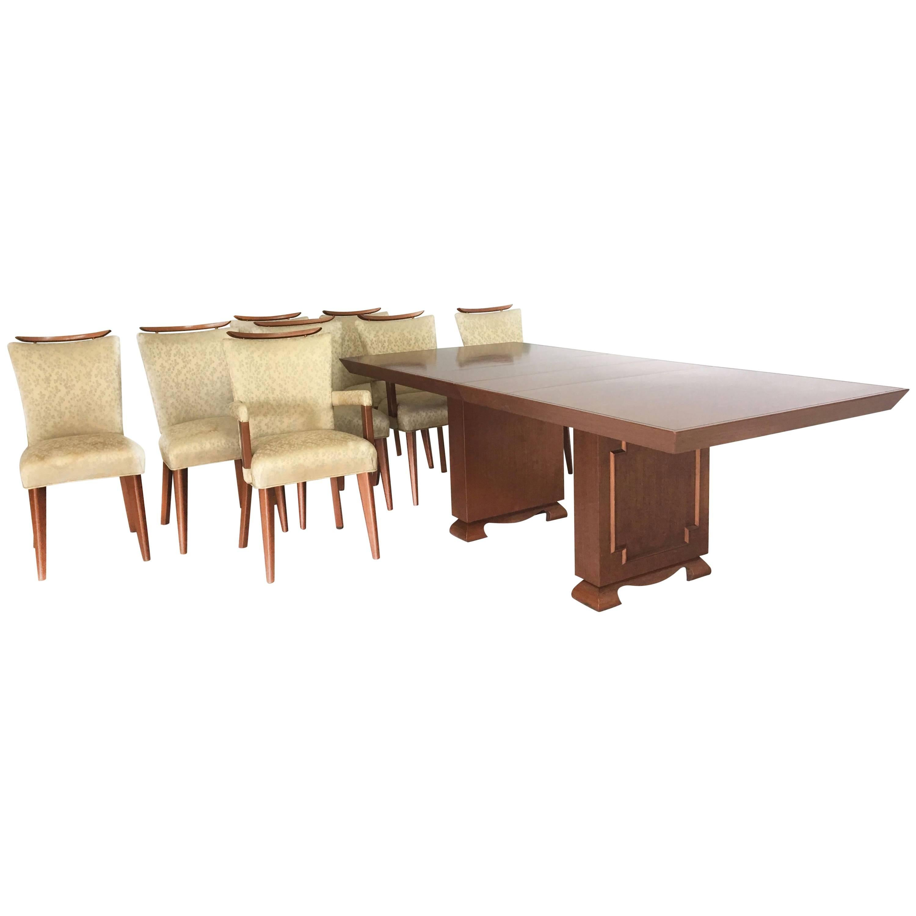 Mid Century Dining Table And Chairs In The Style Of James Mont For Sale