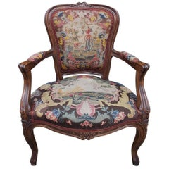 French Walnut Floral Armchair with Decorative Figural Needlepoint, Circa 1840