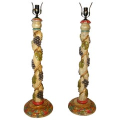 Pair of Carved Wood Candlestick Lamps