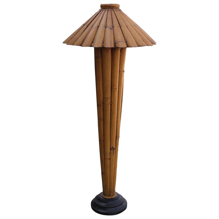 Vintage Bamboo Rattan Floor Lamp For Sale At 1stdibs