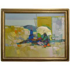 Vintage Impressionist Oil Painting by Nicola Simbari, circa 1966