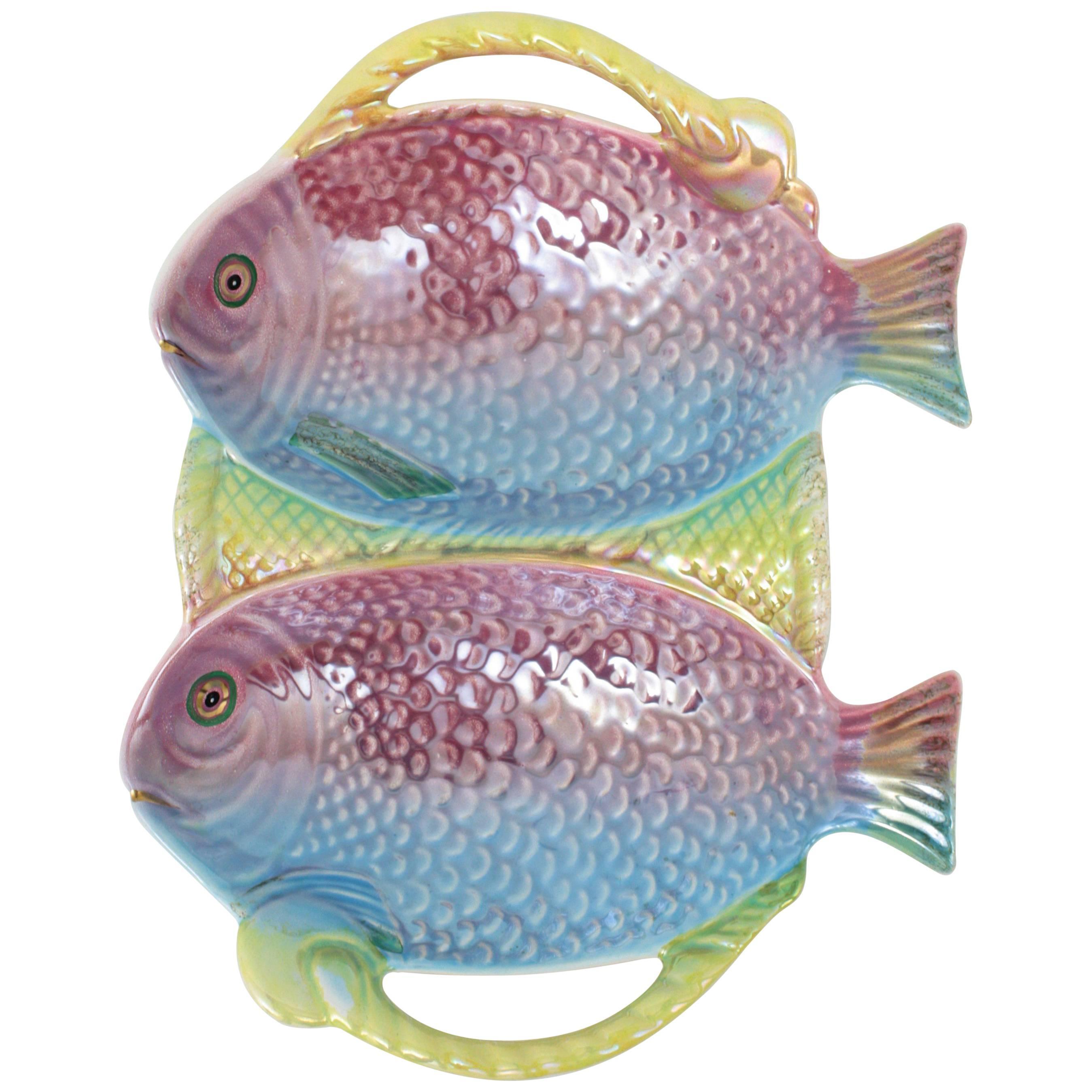 Vintage Pastel Colors Majolica Glazed Ceramic Fish Platter, Portugal, 1960s