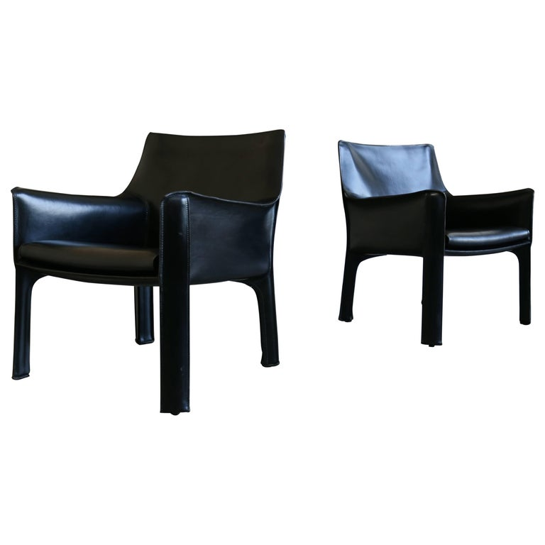 Pair of Cab Lounge Chairs by Mario Bellini for Cassina