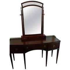 Mahogany Dressing Table or Vanity with Tilt Mirror, Early 20th Century