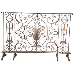 18th Century French Black Wrought Iron Fireplace Screen