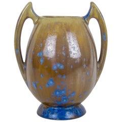 French Pierrefonds Art Nouveau Batwing Stoneware Vase with Crystalline Glaze