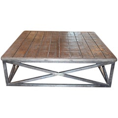 "Vintage Brick Baking Pallet Coffee Table with Metal ""X"" Base"