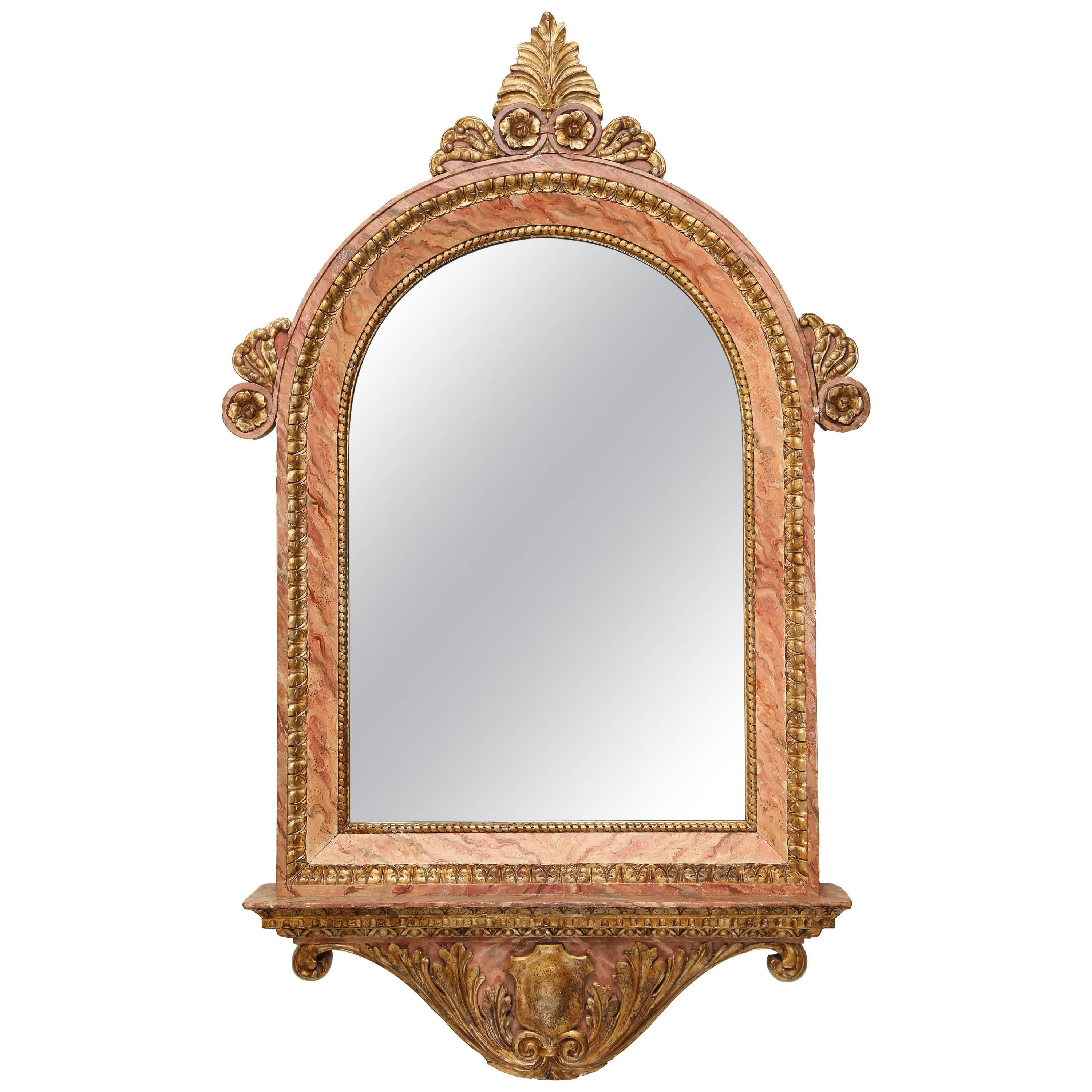 Antique Gilded and Faux Painted Architectural Mirror