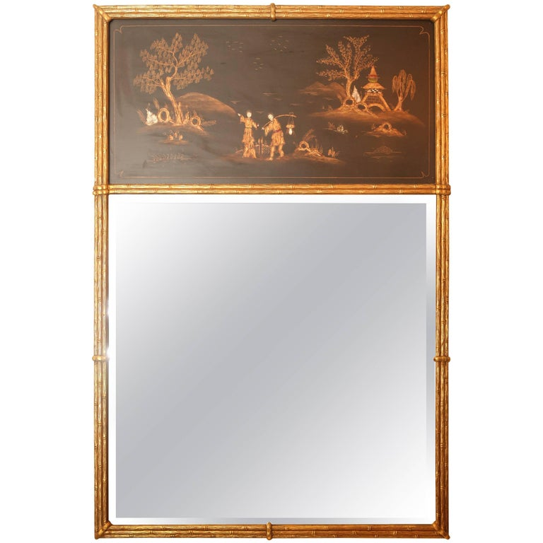Gilded Faux Bamboo Chinoiserie Trumeau Mirror