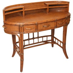 Bamboo and Rattan Oval Desk by Palacek