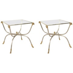 Pair of Jansen Style Steel and Brass Ram's Head End Tables