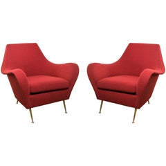 Italian Mid-Century Pair of Chairs with Brass Legs in Red Boucle