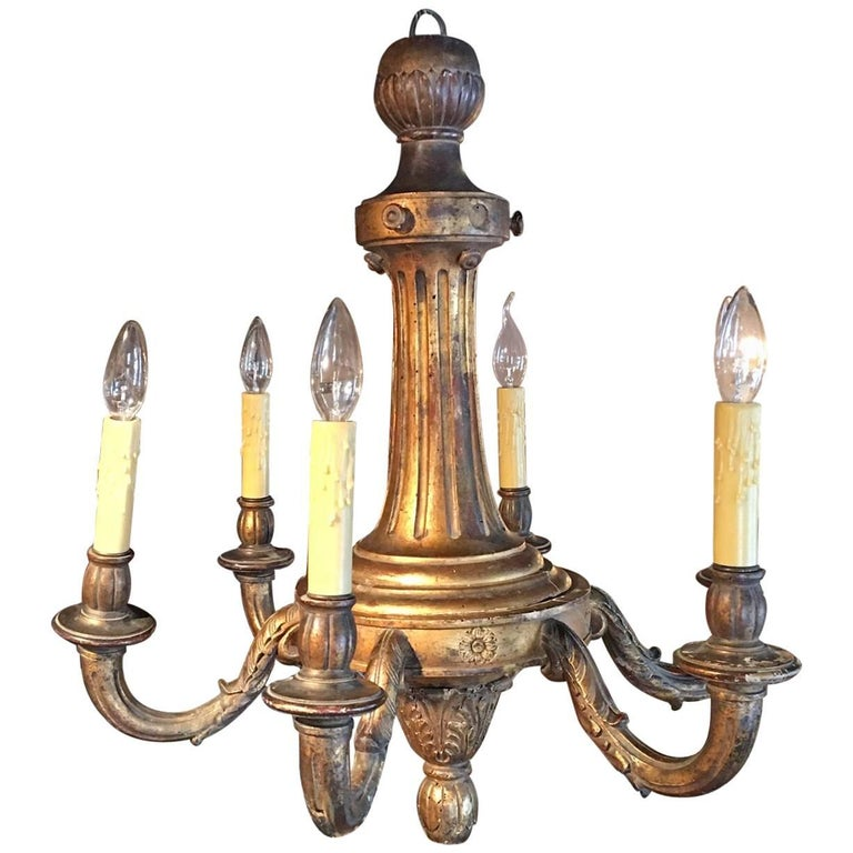 French Louis XVI Style Giltwood Chandelier, Late 19th Century