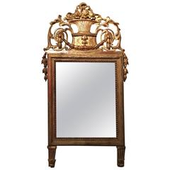 Italian Louis XVI Style Giltwood Mirror with Bell Flower Swags, 19th Century