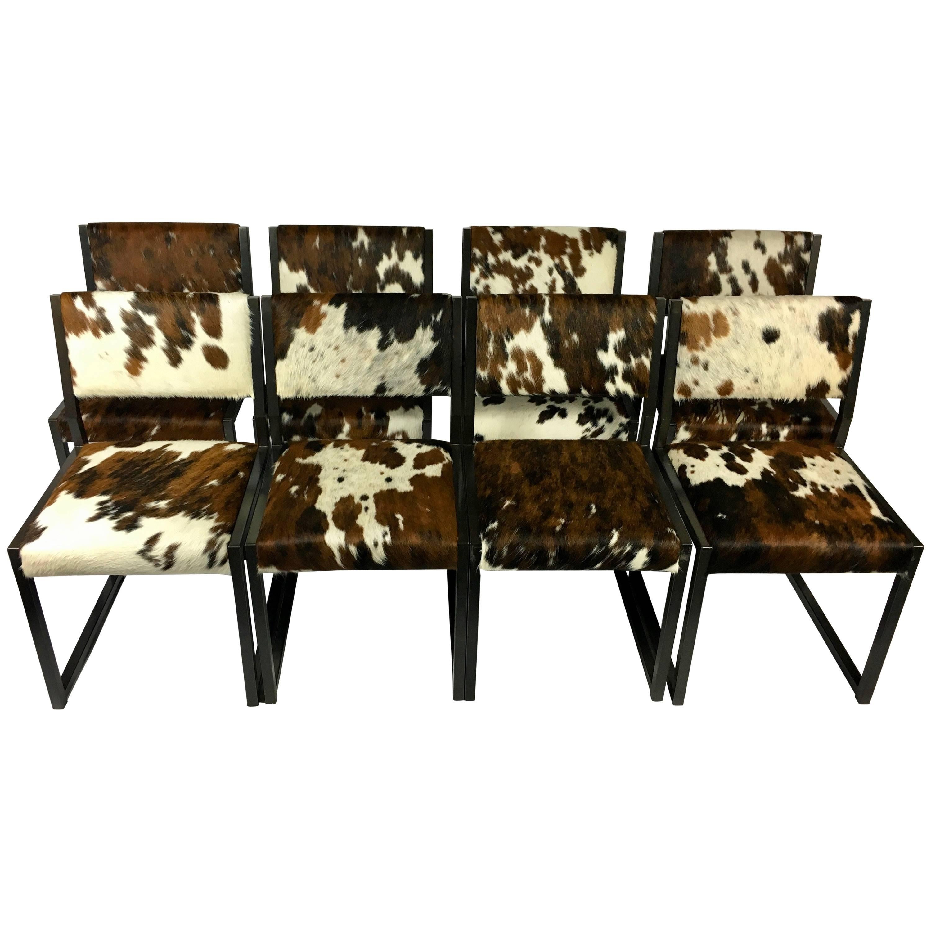 Set Of Eight Pony Skin Dining Chairs, Blackened Steel Frames By Uhuru Design