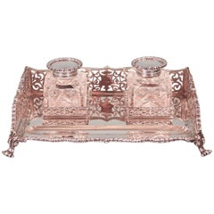 English Sterling Silver Standish with Two Cut-Glass Inkwells